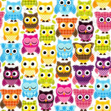 Seamless and Tileable Vector Owl Background Pattern. With Stitching and Pattterns Royalty Free Stock Photos
