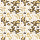 Seamless, Tileable Vector Pattern with Dinosaur Bones Stock Image