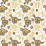 Seamless, Tileable Vector Pattern with Dinosaur Bones Royalty Free Stock Photography