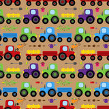 Seamless, Tileable Vector Tractor or Farm Themed Background Stock Photography