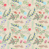 Seamless Tileable Vintage Floral Background Pattern Stock Image