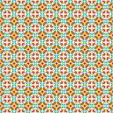Seamless  tiles with flower pattern. Retro style seamless pattern with flowers in the colors red, green, blue, orange, brown Royalty Free Stock Image