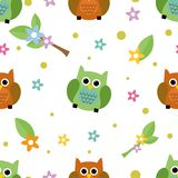 Seamless tiling cute owl and flower texture Stock Photo