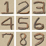 Seamless Tiling Driftwood numbers 1 - 9 Royalty Free Stock Photography