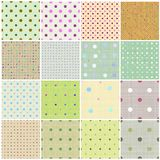 Seamless tiling fabric collection with Polka Dots Royalty Free Stock Image
