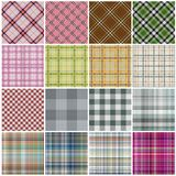 Seamless tiling gingham and plaid texture collection. Isolated over white background royalty free illustration