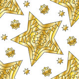 Seamless tiling golden star pattern Stock Images