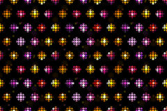 Seamless tiling pattern background with abstract disco ball, color flashes, stars, sparkles. Vintague wrapping paper in 80s style Royalty Free Stock Photo