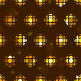 Seamless tiling pattern background with geometric golden disco ball, flashes, stars, sparkles Stock Photography