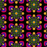 Seamless tiling pattern,. Seamless folk pattern, floral detailed decorations, diamond rhombus shape, pop colors. Latin Mexican or Spanish ceramics style. ethnic Royalty Free Stock Images