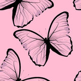Seamless tiling repeating butterfly pattern. Background with beautiful pink butterflies Stock Photos