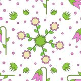 Seamless tiling texture with colorful flowers, gras and dots Royalty Free Stock Photography