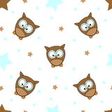 Seamless tiling texture with colorful owls, stars and dots Royalty Free Stock Images