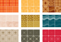 Seamless Tiling Vector Patterns I. Image includes eight unique tiles: plaid, swirls, diamonds, sunbursts, checkered print, tufted print, waves, flowers and dots Stock Image