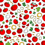 Seamless tomatoes vegetables and herbs pattern. Seamless ripe juicy red tomatoes vegetables pattern with sweet cherry tomatoes, fresh green lettuce and twigs of Royalty Free Illustration