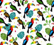 Seamless toucan pattern with tropical leaf on white background vector illustration