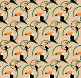 Seamless toucans pattern. Vector tropical background. Toucan icon, Cartoon illustration of toucan vector icon for web, flat style Royalty Free Stock Image