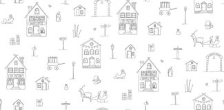 Seamless town pattern. Simple hand drawn seamless texture with Christmas Village. Childish outlines of houses, presents and characters on white. Vector pattern Royalty Free Stock Image