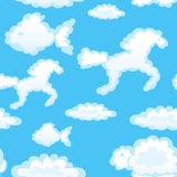Seamless with toy clouds Royalty Free Stock Photos