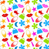 Seamless Toy Girl Icons Pattern Stock Image