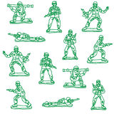 Seamless vecor toy soldiers. Seamless  toy soldiers stroked Royalty Free Stock Photos