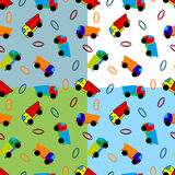 Seamless toy truck pattern Royalty Free Stock Photo