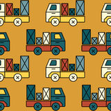 Seamless toy truck pattern with parcel. Royalty Free Stock Images