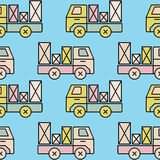 Seamless toy truck pattern with parcel. Royalty Free Stock Image