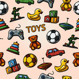 Seamless toys handdrawn pattern with - car, duck Stock Photos