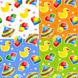 Seamless toys patterns. Four easy to repeat tiles (prints, swatches, seamless backgrounds, wallpapers, or repeat patterns) with colorful spinning tops, rubber Royalty Free Stock Images