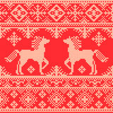 Seamless traditional Christmas pattern with horses Stock Photos