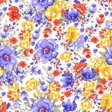 Seamless traditional colorful flower design royalty free illustration