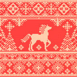 Seamless traditional embroidery red Christmas pattern Stock Image