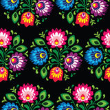 Seamless traditional floral polish pattern - ethnic background. Repetitive colorful pattern on black background - polish folk art pattern vector illustration