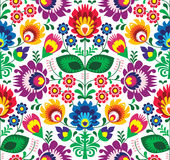 Seamless traditional floral polish pattern - ethnic background. Repetitive colorful background - polish folk art pattern