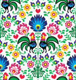 Seamless traditional floral Polish pattern with roosters - Wzory Łowickie Stock Photos