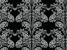 Seamless traditional indian black and white paisley pattern Stock Photos
