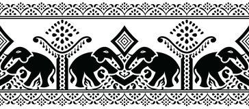 Seamless traditional indian elephant border Stock Photo