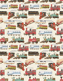 Seamless Trains pattern. Vector drawing Royalty Free Stock Photo