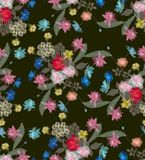 Seamless transparency floral pattern in a dark exotic print Royalty Free Stock Images