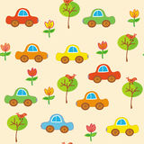 Seamless transport cartoon pattern with cars Royalty Free Stock Image