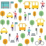 Seamless transport pattern. Vector people and vechicles Royalty Free Stock Image