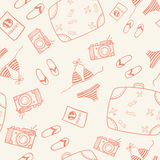 Seamless travel doodle pattern background Stock Photo