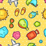 Seamless travel kawaii pattern with cute doodles. Summer collection of cheerful cartoon characters sun, airplane, ship Stock Photo