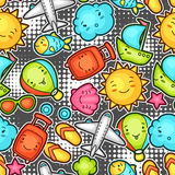 Seamless travel kawaii pattern with cute doodles. Summer collection of cheerful cartoon characters sun, airplane, ship Stock Photography