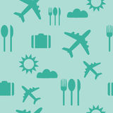 Seamless travel pattern background. Green royalty free illustration