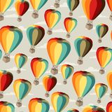 Seamless travel pattern of hot air balloons Stock Photos