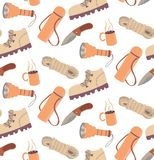 Seamless travelling camping hiking pattern. Cartoon illustartion boot rope knife cup hot drink thermos flashlight Royalty Free Stock Photos