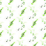 Seamless of treble clefs and notes on branches. Symmetric  ornament of green notes and treble clefs Stock Image
