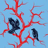 Seamless tree with crows. Seamless tree branches pattern with crow and raven Royalty Free Stock Photos